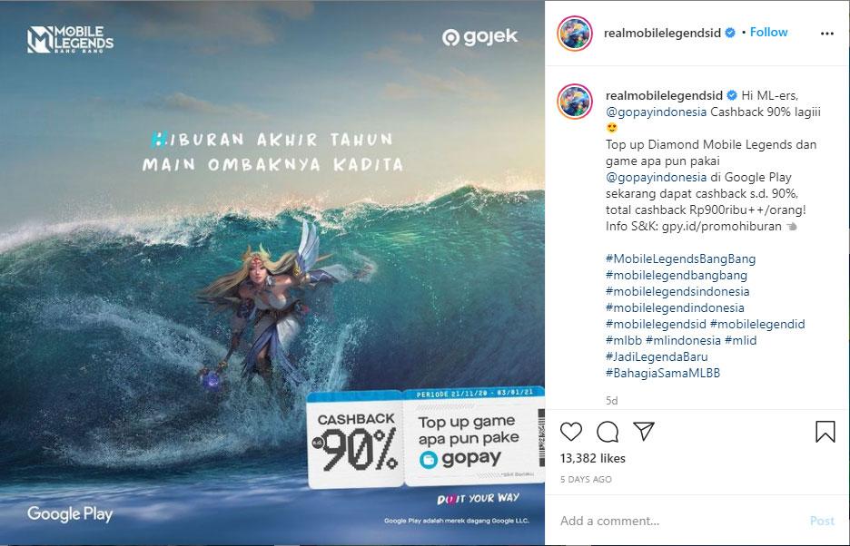 Top Up Diamond Mobile Legends (ML) via GoPay Dapat Cashback 90%!
